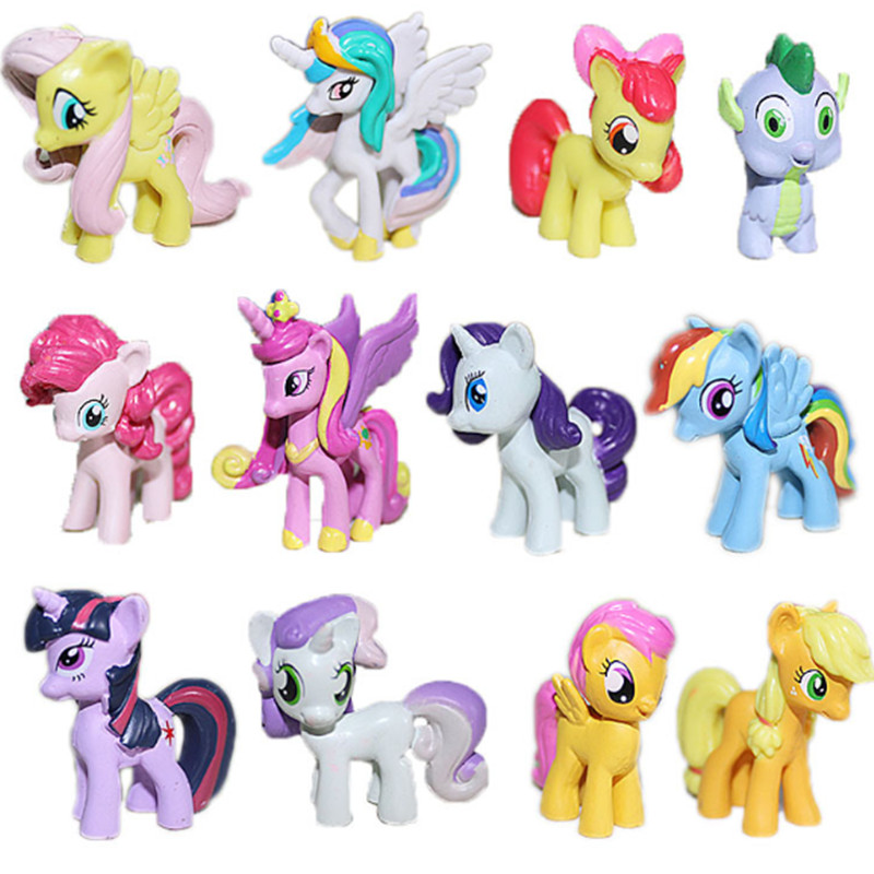 New Arrival 12pcs/set 4-5cm Mini Lovely Kids TV MLP Rainbow Cartoon Animal Little Horse Action Figure Toys Wholesale G0162