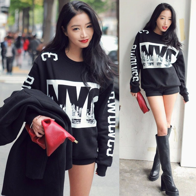 New T Shirt Women Crewneck Long Sleeve Sweatshirt Tops Letter Print Thicken Warm Loose Blouse T-shirt New(China (Mainland))
