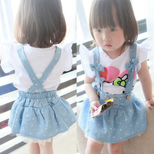 2015 newborn summer dress baby girl dresses strap denim print bow cute dress vestidos bebe infant baby clothing kids clothes(China (Mainland))
