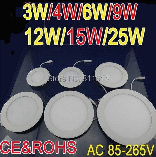 3W 4W 6W 9W 12W 15W 25W AC85~265V Cold white/warm white LED Ceiling LED Downlights Round Panel Lights Bulb SMD3528 High quality<br><br>Aliexpress