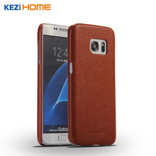 Buy Case for Samsung Galaxy S7 KEZiHOME Litchi Pattern Genuine Leather Hard Back Cover capa For Samsung S7 G9300 Phone cases coque for $8.07 in AliExpress store
