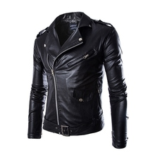 New temperament slim oblique zipper motorcycle man leather jacket korean fashion men's PU jacket Asian/Tag Size M-2XL(China (Mainland))