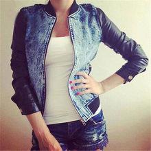 2017 Fashion Womens Ladies Punk Casual Denim Pu Sleeve Jacket Outwear Coat Outwear(China (Mainland))