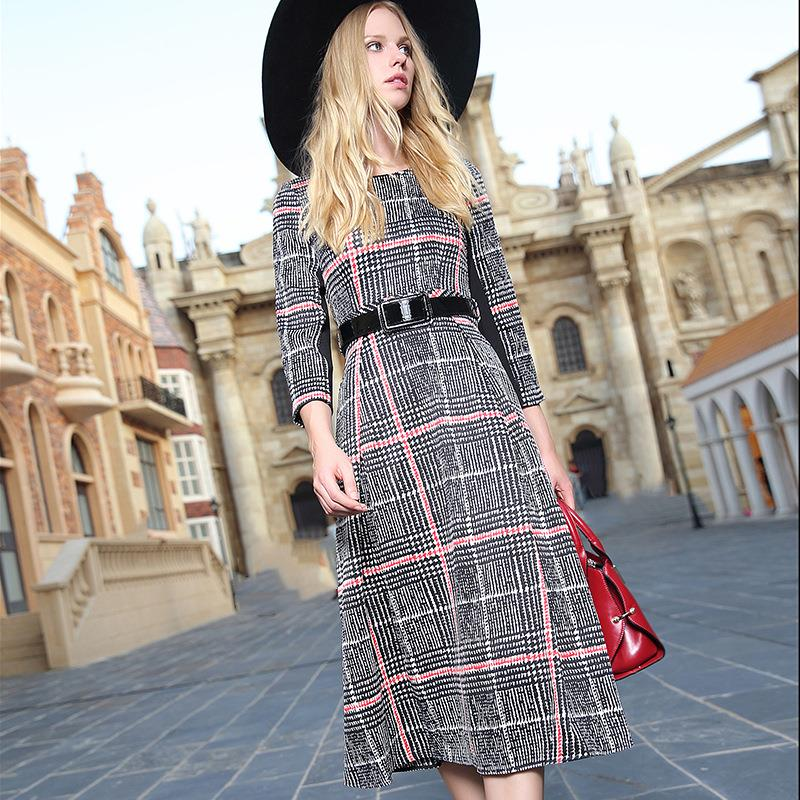 2016 Autumn Fashion New Mid-calf Dress Women Casual Dress Plaid Dress Vestido with Sashes S M L Size with Gift Q153381