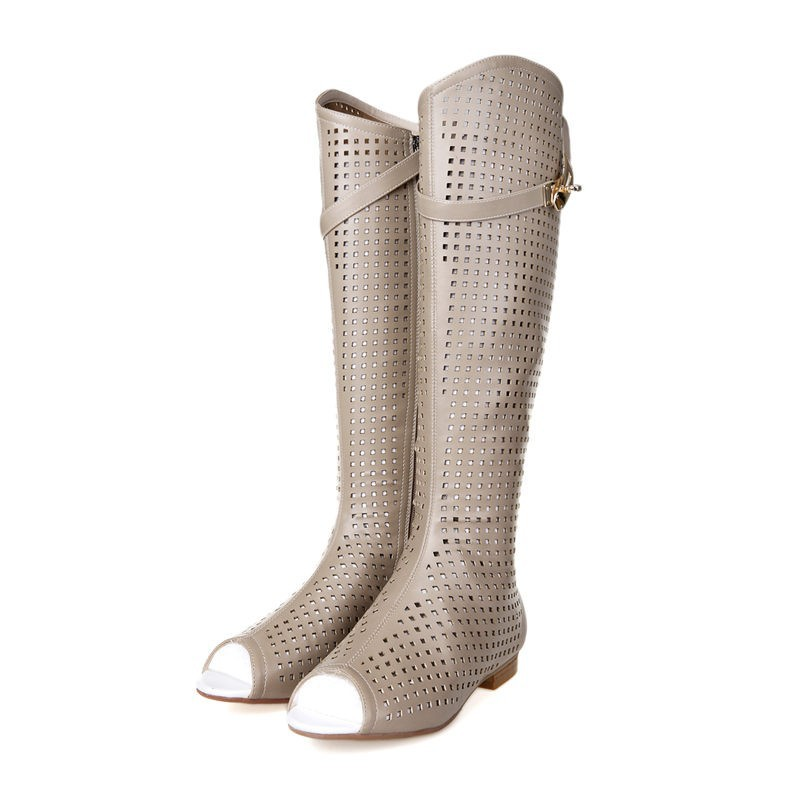 2015 New Women Summer Boots Fashion Buckle Knee High Boots Sexy