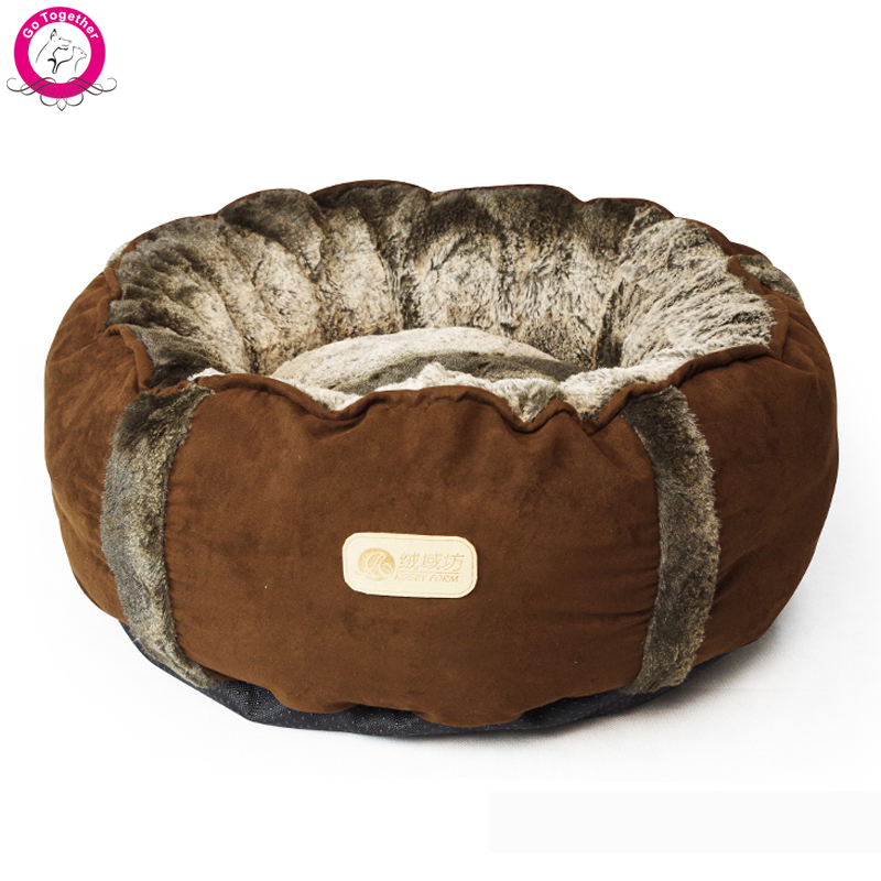 Round Small Dog Cat Bed House Soft Fleece Autumn Winter Warm Pet House Indoor Detachable Wash Chihuahua Kennel(China (Mainland))