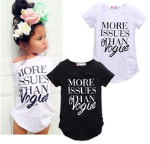 2016 New Baby Girls Summer Short sleeve Cotton T-shirt Top Casual fashion letter print shirt