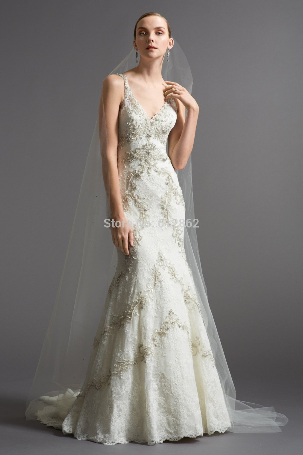 Sexy backless v neck long train beaded lace wedding dress for Lace wedding dress with long train