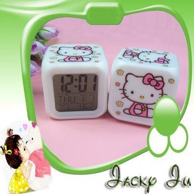 Free Shipping New Hello Kitty Glowing LED 7 Color Change PVC Digital Alarm MoodiCare Clock