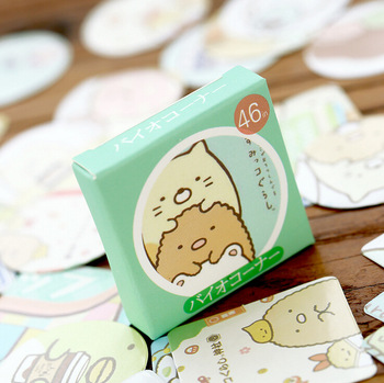 S13 46 pcs/set Cute Kawaii Sumikko Gurashi Cartoon Card Stickers Adhesive DIY Decorative Stickers Cake Diary Decor