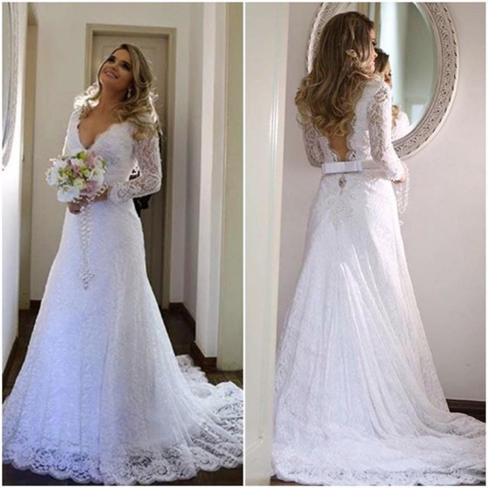 Deep v neckline lace wedding dress long sleeves arabic for Lace sleeve wedding dresses