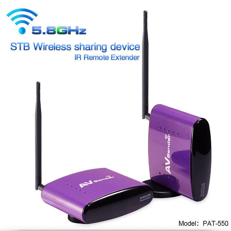 PAT-550 5.8GHz 300m Digital STB Wireless Sharing Device AV Transmitter & Receiver Sender IR Remote + EU US UK AU Plug for PAT550(China (Mainland))