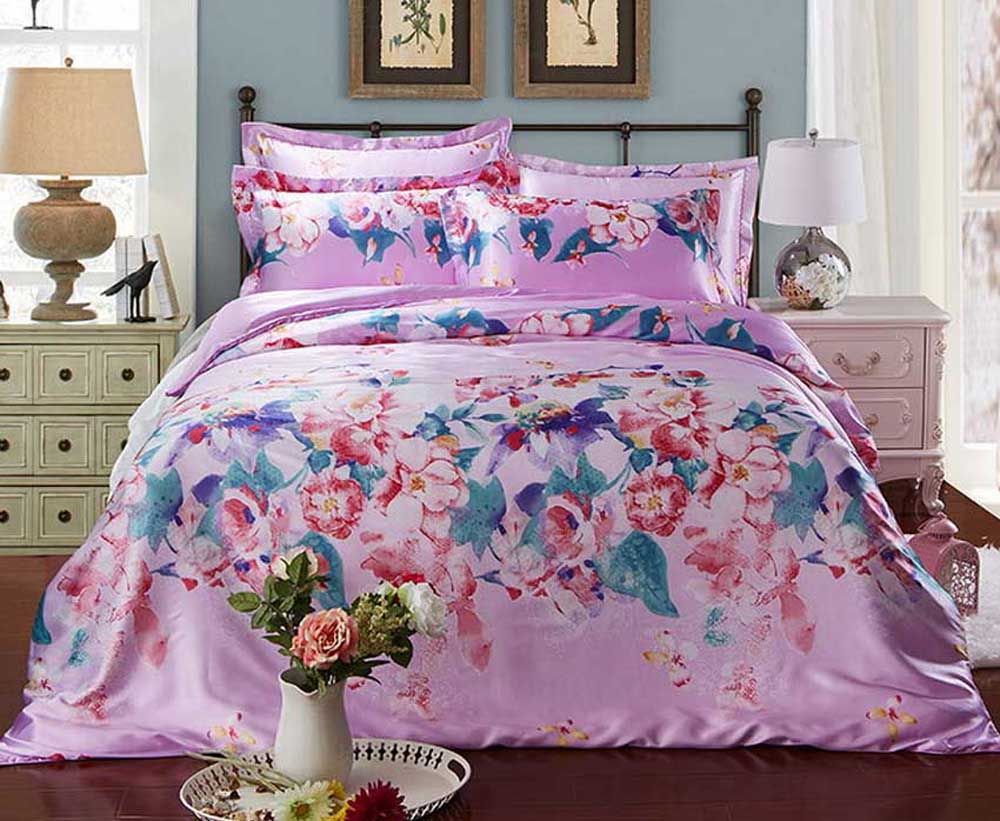 Purple flower Double/single beds Twin Queen King size Satin Silk 3/4pcs Bedding Set Brands Duvet Cover/Bed sheet/Pillowcase(China (Mainland))