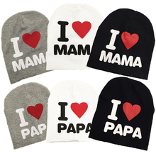 Wholesale new autumn baby knitted warm cotton beanie hat for toddler baby kids girl boy I LOVE PAPA MAMA print baby winter hats
