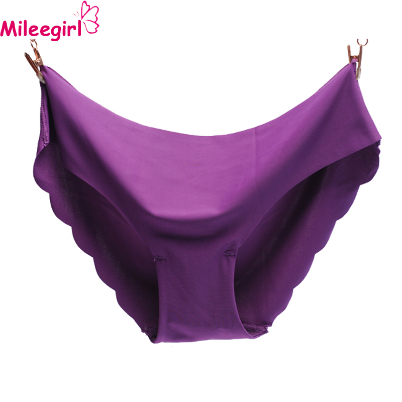 Mileegirl 6Colors Women Seamless Briefs Plus Size Panties Ultra-thin Traceless Trimming Ruffles Sexy Panty Underwear For Lady
