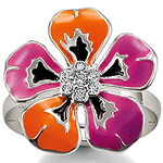 Thomas orange & purple flower Ring US size 8, Size:2.2cm, 2016 TS good jewelry in Silver plated, Gift for Women(China (Mainland))