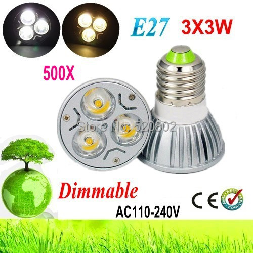 500X High power E27 GU10 E14 MR16 3x3W 9W 110V 220V Dimmable Light lamp Bulb LED Downlight Led Bulb Warm/Pure/Cool White(China (Mainland))