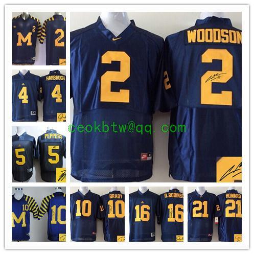 Signature Michigan Wolverines,2 Charles Woodson 4 Jim Harbaugh 5 Jabrill Peppers 10 Tom Brady 16 Denard Robinson Desmond Howard(China (Mainland))