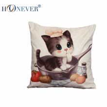 Cat In Kitchen Cushion Cover Throw Pillow