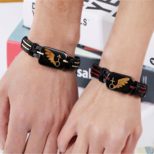 Cool Punk Retro Couple Lovers PU Leather Bracelet Wristband Valentine's Day Gift Free Shipping(China (Mainland))