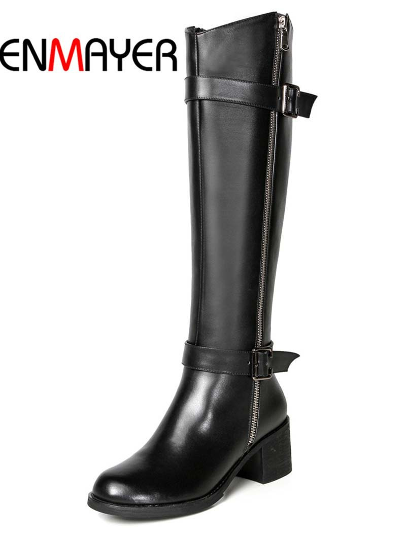 ENMAYER Knight bootsForWomen Round Toe Fashion High quality black leather motorcycle boots Buckle Zip Winter Platform Warm Shoes<br><br>Aliexpress