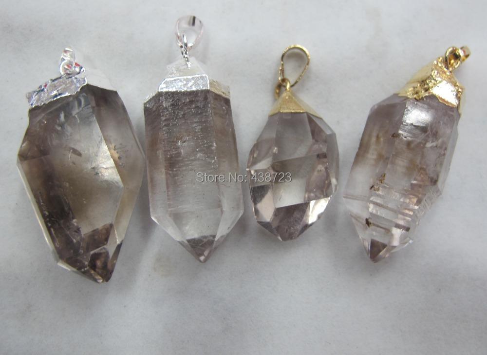 Good quality Natural Rock Crystal Quartz Rough Point Pendant fit quartz necklace diy 10pcs/lot free shipping