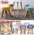Wholesale 100 Wood bar stool cotton wooden furniture waiting stool Salon chair dresser stool bathroom stool