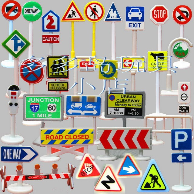 eco-friendly plastic model Car train scene with props traffic signs toy can used in tomy building and siku scene 30pcs/set(China (Mainland))