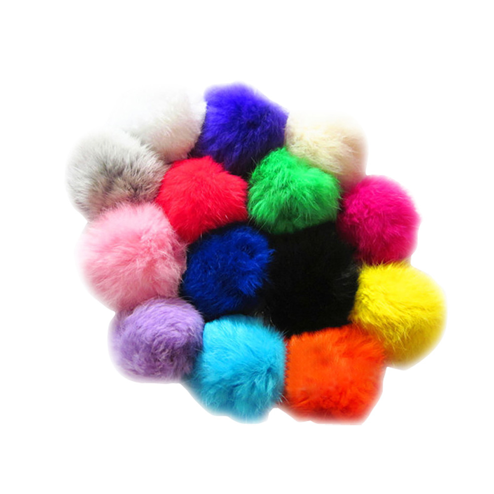 Cute Faux Leather Rabbit Fur Ball Plush Key Chain For Car Key Ring Bag Pendant Car Keychain 12 Colors HB88(China (Mainland))