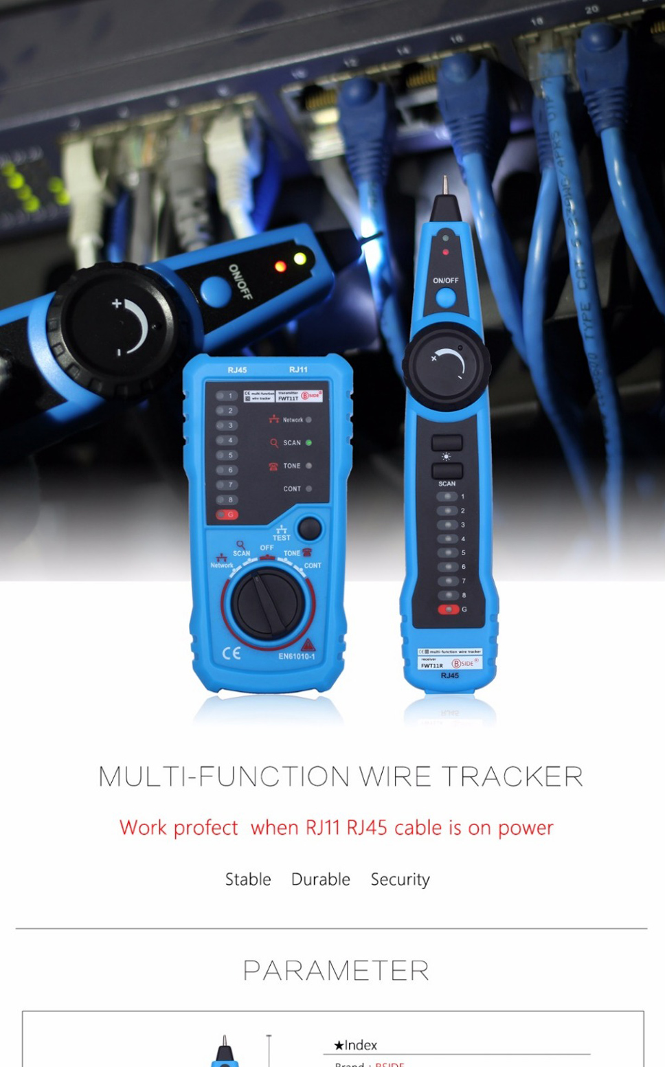 FWT11 Network LAN Cable Tester RJ45 RJ11 Wire Tracker Tracer Line Finder