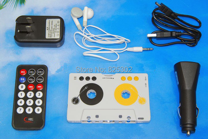 Hot Sale Factory Supply Car Cassette Player,SD mmc Cassette Adapter MP3 Tape Player With Remote Control,Cassette Player For Car(China (Mainland))