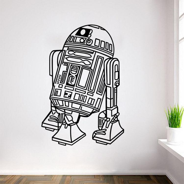 L11 Star Wars Robot Wall Sticker Quote R2 D2 Decal Vinyl Home Decor Kids Geek Gamer Removable Mural Bedroom Wallpaper(China (Mainland))