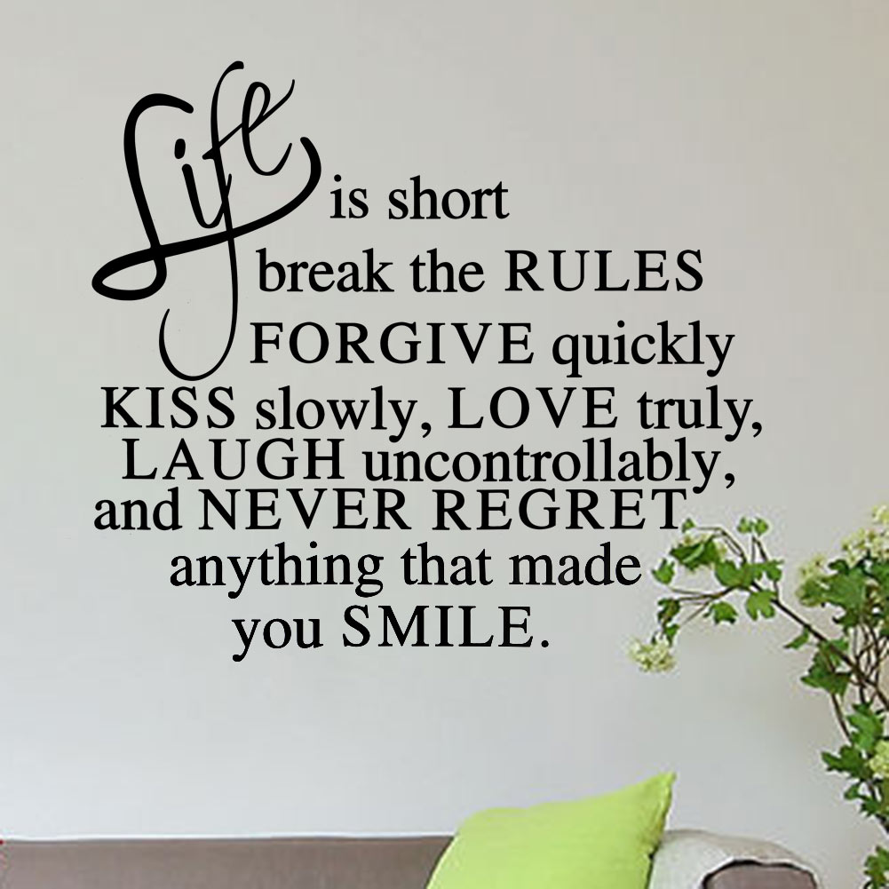 New Delightful Life Is Short Never Regret Quote Inspirational Motto DIY Vinyl Wall Sticker Mural Decals Home Decoration