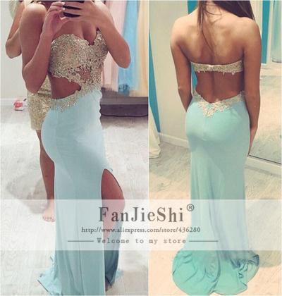 Latest Design Vestido De Festa Sweetheart Appliques Sleeveless Slit Backless 2015 Custom Made Luxury Long Mermaid Prom Dresses - Suzhou FanJieShi Wedding Dress Co., Ltd. store