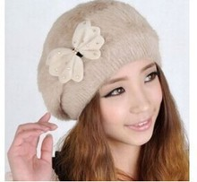 HDD-04 2015 Women's hat Boina feminina winter Vogue knitted hat Winter rabbit fur beret hat cap beanies winter hat for women(China (Mainland))