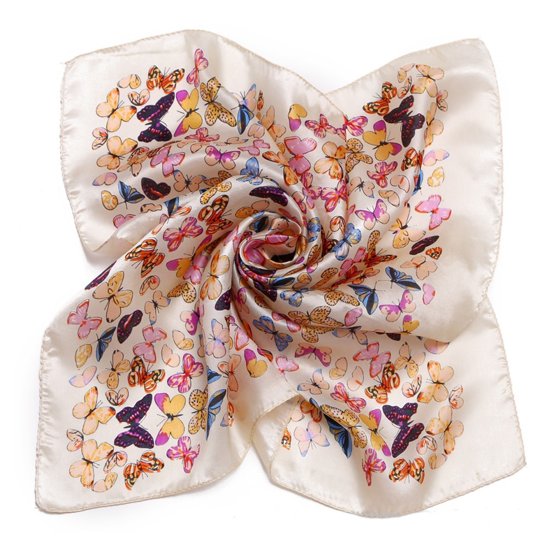 LING/Fashion Square Silk Scarf ,Bufandas Cuellos,Butterfly Pattern Short Feminino, Satin Silk Head Scarves/XF88020(China (Mainland))