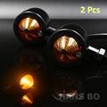 2pcs Lot Black Vintage Black Bullet Steel Housing Motorcycle Turn Signal Indicator Light Amber Light Cafe
