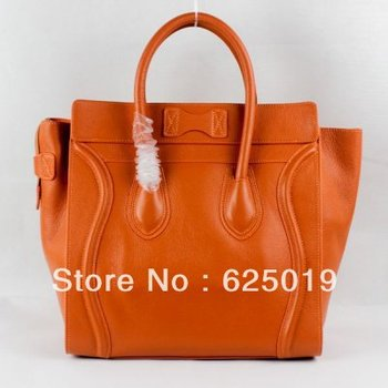 free shipping discount Clenie brand Boston Orange Smile Leather Bags for sale Womens Classic Bags