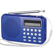 Portable Digital LED Light Stereo MINI FM Radio MP3 Music Player Speaker Support USB Disk/MicroSD Card Blue