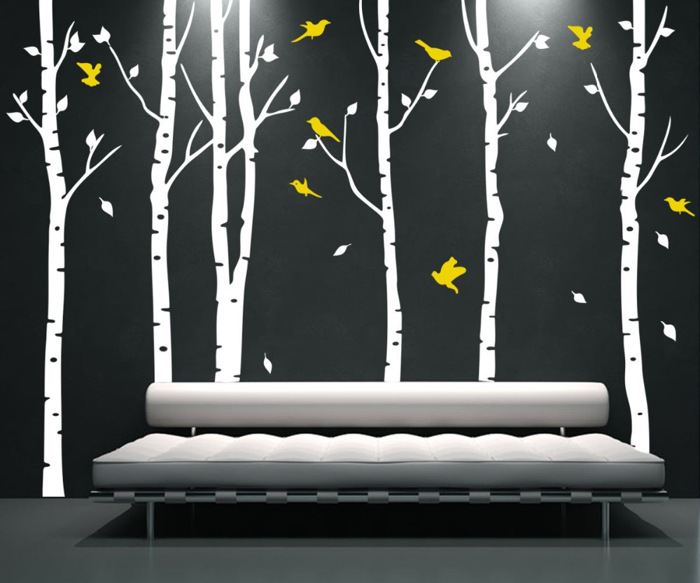 XL large 6 trees and 11 birds, Tree Wall Sticker Bird Vinyl Wall Decals Coulful Wall Stickers Home Decor Living Room(China (Mainland))