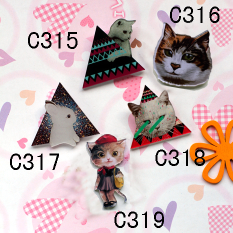 New arrival Acrylic HARAJUKU Badge Animal Rabbit Cat Brooches Clip Scarf Cheap Epaulettes Hijab Pins CC Christmas Gift For Girl(China (Mainland))
