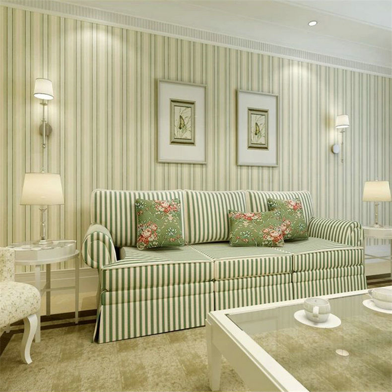 ... woonkamer behang groen pure papier behang verticale gestreepte behang