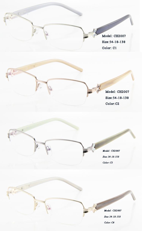 Eye Wonder Women Metal Eyeglasses Optical Frames with Decoration on temples Oculos de grau Women(China (Mainland))