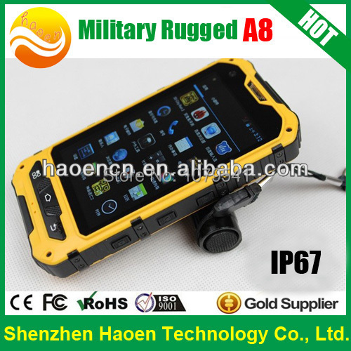 A8 Rugged Android Smart Phone IP67 Waterproof Outdoor Mobile Phone 4.0 Inch MTK 6572 Dual Core 1.2GHz GPS WCDMA Tough Phones(China (Mainland))