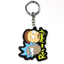 Rick e Morty Cabeça dos desenhos animados de Borracha Sofy Silicone Chave Chaveiro Cadeia Chaveiro(China)