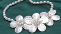 Wedding Pretty White Flowers Pearl Necklace Woman Jewelry Handmade Choker Necklace AAA Natural Real Pearl Freshwater