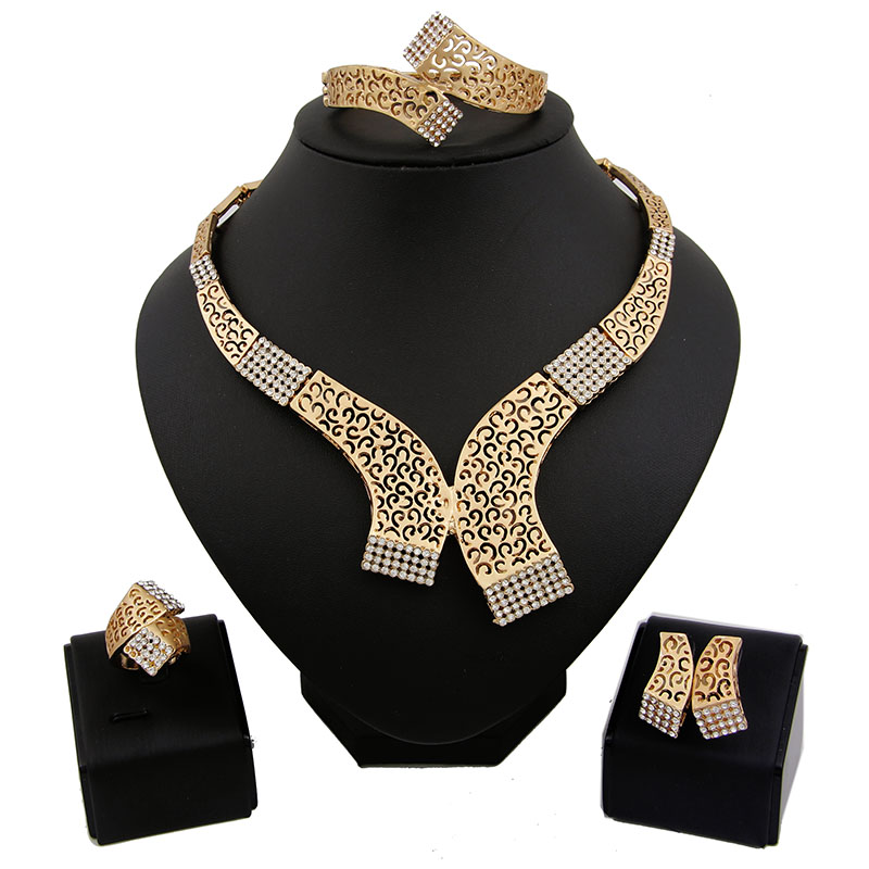 African jewellery sets 18k gold plated hollow out necklace and earrings sets classic bridal jewelry sets(China (Mainland))