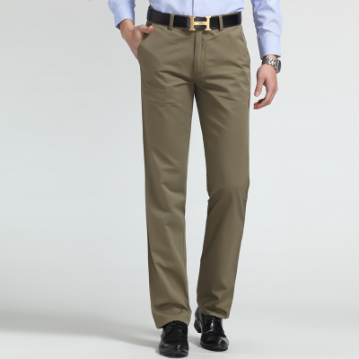Spring business casual trousers, cotton pants waist straight male Korean - Hongli Tan's store