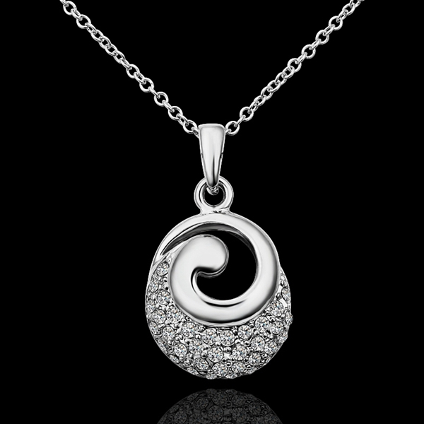 18K White Gold plated fashion jewelry Austria Crystal,rhinestone,CZ diamond,Nickle Free pendant necklace KN611 - fei shao's store