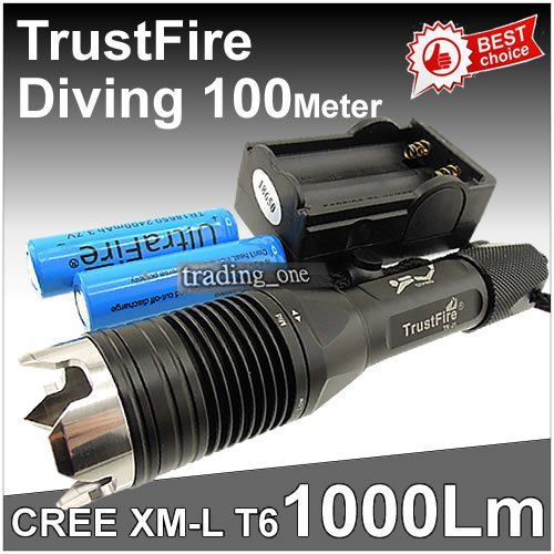 Free Shipping TrustFire1000 lumen CREE XML XM-L T6 LED Diving Flashlight Waterproof Torch 2*3.7v 18650 battery Charger